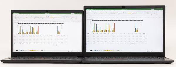 ThinkPad E14 Gen 3(AMD) 画面サイズ比較