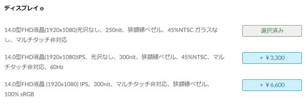 ThinkPad E14 Gen 3(AMD) パネル