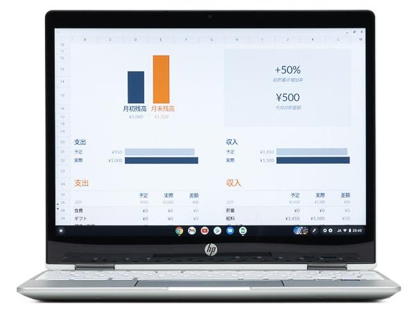HP Chromebook x360 12b 明るさ