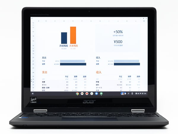 Acer Spin 512 明るさ