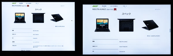 Acer Spin 512 スケーリング